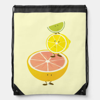 Smiling citrus characters stacked together drawstring backpack