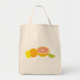 Smiling citrus fruit tote bags