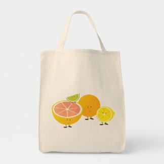 Smiling citrus group canvas bags