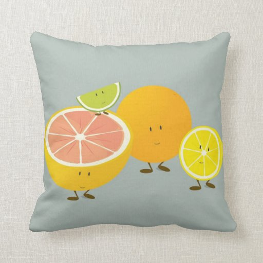 Smiling Citrus group illustration Pillow