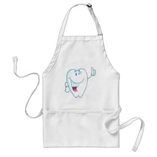 Smiling Clean Tooth Cartoon Character Thumbs Up.ai Adult Apron