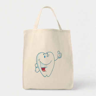 Smiling Clean Tooth Cartoon Character Thumbs Up.ai Canvas Bags