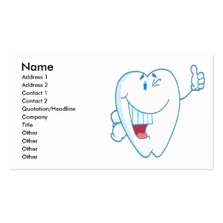 Smiling Clean Tooth Cartoon Character Thumbs Up.ai Business Card Template
