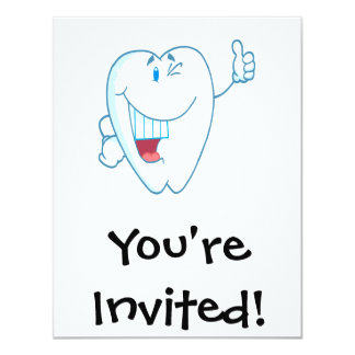 """Smiling Clean Tooth Cartoon Character Thumbs Up.ai 4.25"""" X 5.5"""" Invitation Card"""