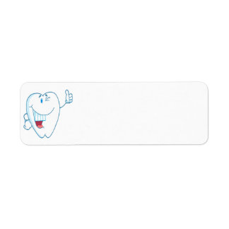 Smiling Clean Tooth Cartoon Character Thumbs Up.ai Return Address Label
