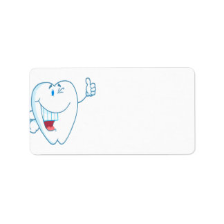 Smiling Clean Tooth Cartoon Character Thumbs Up.ai Personalized Address Labels