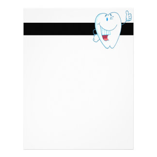 Smiling Clean Tooth Cartoon Character Thumbs Up.ai Letterhead