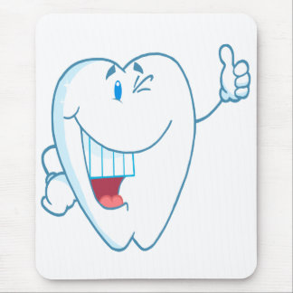 Smiling Clean Tooth Cartoon Character Thumbs Up.ai Mouse Pad