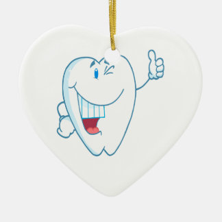 Smiling Clean Tooth Cartoon Character Thumbs Up.ai Ornament