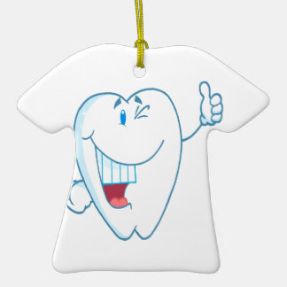 Smiling Clean Tooth Cartoon Character Thumbs Up.ai Christmas Ornaments