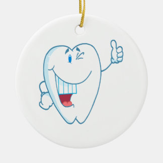 Smiling Clean Tooth Cartoon Character Thumbs Up.ai Christmas Tree Ornaments