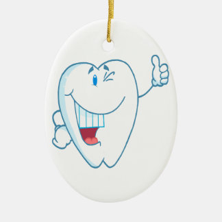 Smiling Clean Tooth Cartoon Character Thumbs Up.ai Ornaments