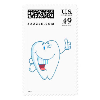 Smiling Clean Tooth Cartoon Character Thumbs Up.ai Stamp