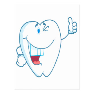 Smiling Clean Tooth Cartoon Character Thumbs Up.ai Postcard
