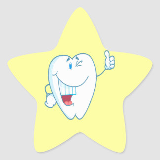 Smiling Clean Tooth Cartoon Character Thumbs Up.ai Sticker