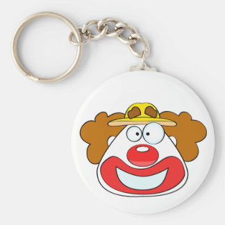 Smiling clown face basic round button keychain