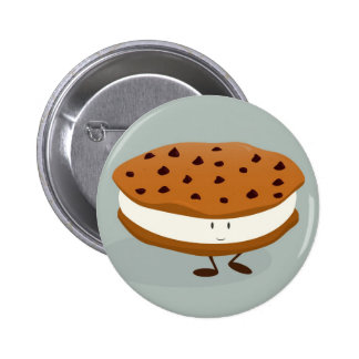 Smiling cookie and ice cream sandwich pinback button