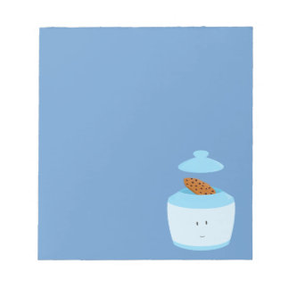 Smiling cookie jar with cookie inside note pads