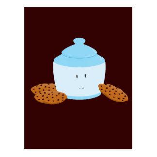 Smiling cookie jar with cookies around it postcard