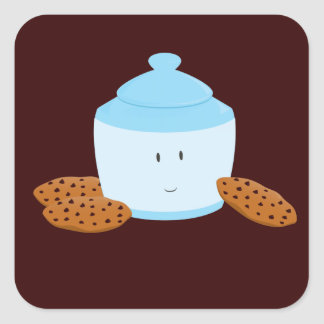 Smiling cookie jar with cookies around it square sticker