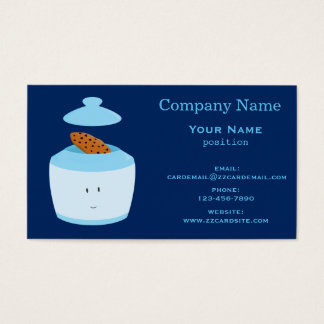 Smiling Cookie Jar with open lid Business Card
