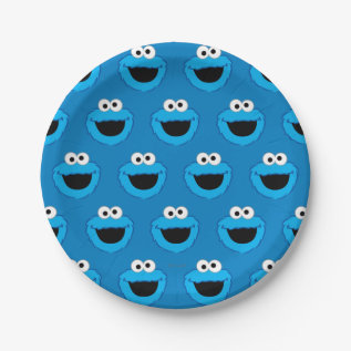 Smiling Cookie Monster Pattern Paper Plate at Zazzle