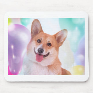 Smiling Corgi with Balloons Mouse Pad