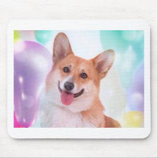 Smiling Corgi with Balloons Mouse Pad