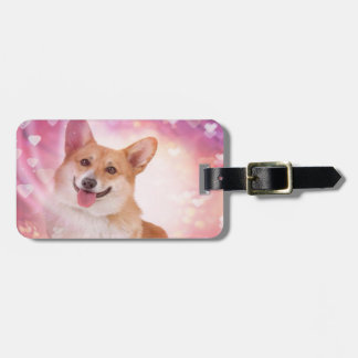 Smiling Corgi with Hearts Tags For Bags