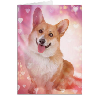 Smiling Corgi With Hearts Valentine Card