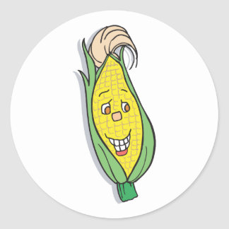 smiling corn character classic round sticker
