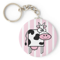 Smiling Cow Girly Animal Print Keychain
