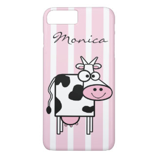 Smiling Cow Girly Animal Print Monogrammed iPhone 7 Plus Case