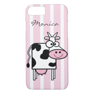 Smiling Cow Girly Animal Print Monogrammed iPhone 8/7 Case