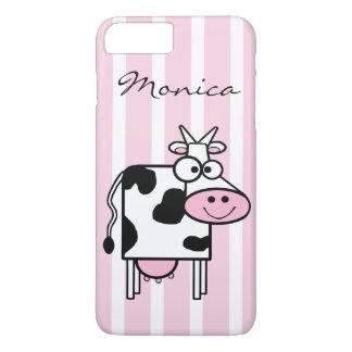Smiling Cow Girly Animal Print Monogrammed iPhone 8 Plus/7 Plus Case