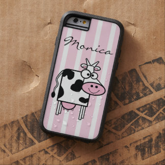 Smiling Cow Girly Animal Print Monogrammed Tough Xtreme iPhone 6 Case
