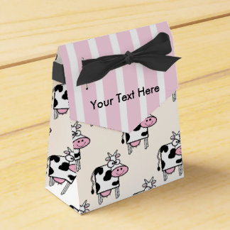 Smiling Cow Girly Animal Print Personalized Favor Box