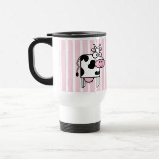Smiling Cow Girly Animal Print Travel Mug