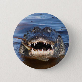 Smiling Crocodile Pinback Button