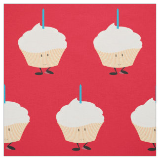 Smiling cupcake with a blue candle fabric