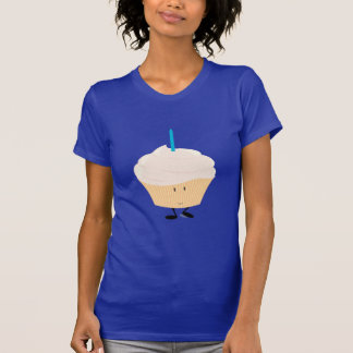 Smiling cupcake with a blue candle tees