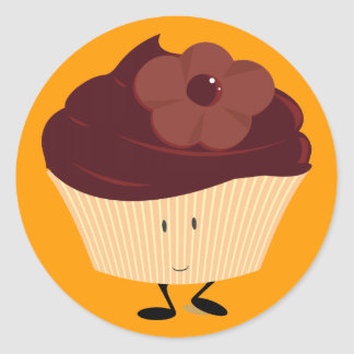 Smiling cupcake with chocolate flower frosting classic round sticker