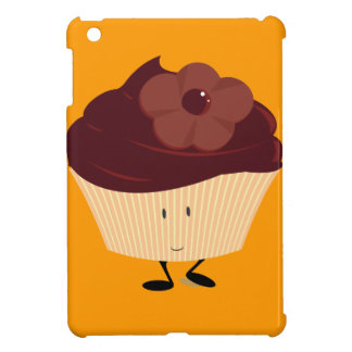 Smiling cupcake with chocolate flower frosting iPad mini cover