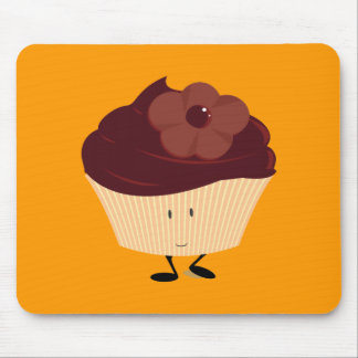 Smiling cupcake with chocolate flower frosting mouse pad