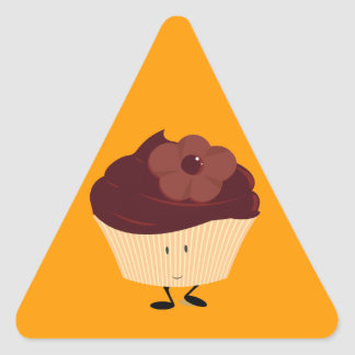 Smiling cupcake with chocolate flower frosting triangle sticker