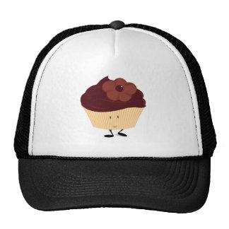 Smiling cupcake with chocolate flower frosting trucker hat
