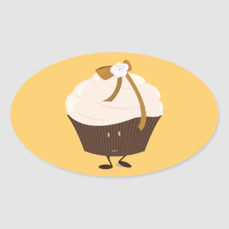 Smiling cupcake with flower and bow oval sticker