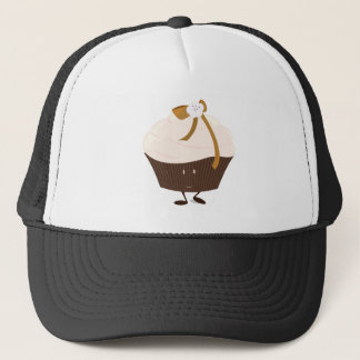 Smiling cupcake with flower and bow trucker hat