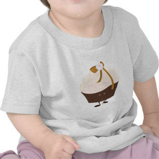 Smiling cupcake with flower and bow t shirt