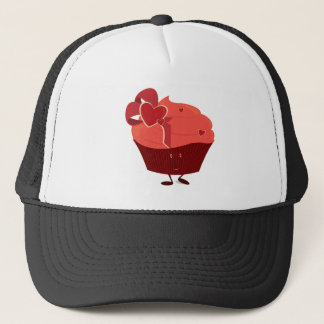 Smiling cupcake with heart decoration trucker hat